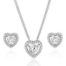 silver cubic zirconia heart pendant and stud earrings set large white gold necklace sets kate spade
