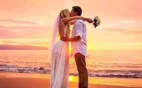Kiss At Sunset Cute Couple Marriage ...