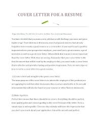 How Do I Create A Cover Letter For My Resume Cover Letters And