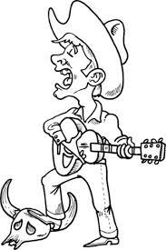 Small Picture Cowboy Singing and Playing Guitar coloring page Free Printable