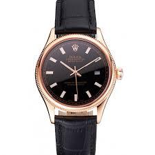 swiss rolex datejust black dial rose gold case black leather strap