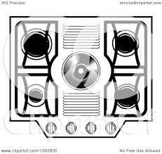 stove clipart black and white. clipart of a black and white kitchen stove hob cook top - royalty free vector illustration by frisko