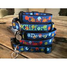 monogrammed dog collars. Navy Silly Dots 1\ Monogrammed Dog Collars