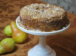 ed pear cake with almond ginger streusel