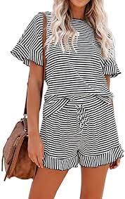 Amazon.com: KIRUNDO <b>2021 Summer Women's</b> Stripe Pajamas ...
