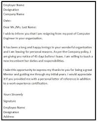 Resignation Letter Samples With Reason Resignation Letter Format With Reason Describing The Reason