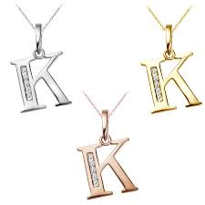 025 ct diamond alphabet letter k initial pendant