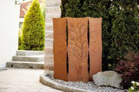 Haus Möbel Paravent Für Garten Sichtschutz Edelrost Metall Weide