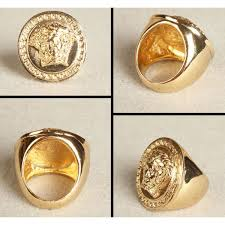gold plated bling bling ring with versace medusa head swag hip hop jewelry
