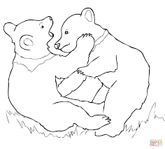 Grizzly Bear Cubs Playing Coloring Page