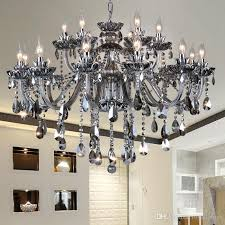 european style living room modern chandeliers crystal smallpox simple decoration smoke grey 18 head led chandelier bathroom chandeliers led chandelier