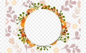 wedding invitation flower picture frame ornament orange round wreath