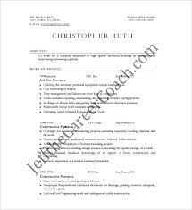 Resumes For Construction Construction Foreman Resumes Construction Resume Examples
