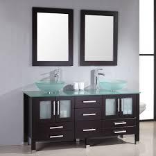 black rectangle wall mirror frames over glass bowl double sinks vanity in espresso veneer multi drawer storage