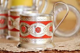 details about russian tea glass holders beautiful glass holdes set of 5 vintage kitchen decor