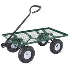 uenjoy lawn yard utility garden wagon heavy duty nursery cart wheelbarrow steel trailer