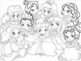Coloring Pages Baby Disney Princesses Free Coloring Sheets
