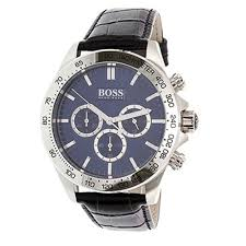 home the watches hugo boss 1513176 mens black leather band blue dial w chronograph