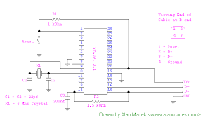 usb and pic microprocessors 16c745 and 18f2455 from alanmacek com circuit diagram showing usb connections