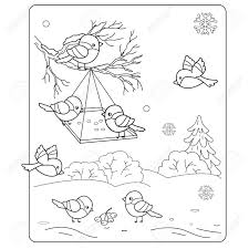Small Picture Coloring Page Outline Of Cartoon Birds In The Winter Bird Feeder
