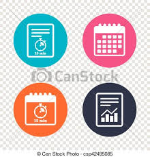 Timer For 15 Min Report Document Calendar Icons Timer Sign Icon 15 Minutes