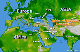 Table Of Nations Chart Map Of The Origin Of Nations In Genesis 10 Bible History