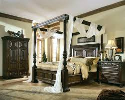 Black Wood Canopy King Bed Modern Bedroom Sets Curtains Drapes Queen ...