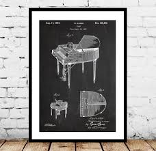 piano patent piano poster piano print piano art piano decor piano blueprint piano wall art on piano themed wall art with piano patent piano poster piano print piano art piano decor