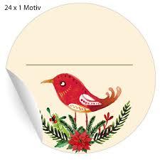 24 Schöne Weihnachts Aufkleber Mit Vogel Und Weihnachtsstern