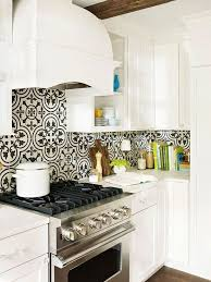 white and black kitchen backsplashes. Contemporary Kitchen Patterned Tiles Can Dress Up A White Kitchen And Be Focal Point When The  Other Elements In Space Are More Neutral Intended White And Black Kitchen Backsplashes H