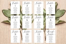 Wedding Seating Chart Cards Template Place Card Template Table Number Template Seating Chart