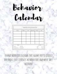 Behavior Calendar Printable Classroom Behavior Chart For Classroom Management