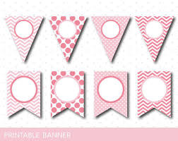 ... Printable pink banner, Pink birthday and baby shower banner, Blank  banner, PB-