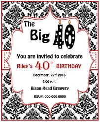 40th Birthday Invitations Free Templates 28 Great Ideas For Free 40th Birthday Invitations Templates