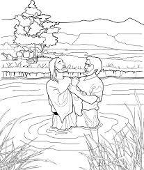 John Baptizing Jesus Coloring Page