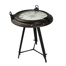 Image Unique Glass Urban Designs Industrial Porthole Metal Round Clock Coffee End Table Brown Amazoncom Unique End Tables Amazoncom