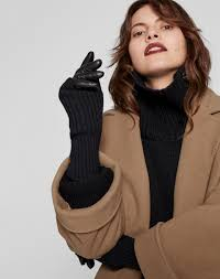 women s accessories leather gloves with arm warmer in black from me em