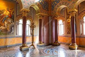 interior of the neuschwanstein castle in germany stock photo
