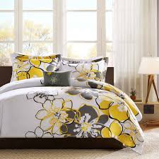 contemporary bedroom with black white gray large fl bedding feminine damask grey and yellow bedding