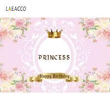 <b>Laeacco</b> Pink <b>Princess Backdrops</b> Gold Crown Headboard Sofa ...