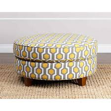 chic round fabric ottoman abson living conway yellow pattern fabric round ottoman