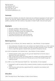 1 Gym Assistant Resume Templates Try Them Now Myperfectresume