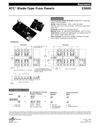 atc ® blade type fuse panels cooper bussmann pdf catalogue atc ® blade type fuse panels 1 1 pages