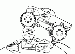 Monster car jumps over cars coloring page for kids transportation coloring pages printables free