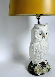 white owl lamp ceramic majolica owl lamp made in for at white owl table lamp