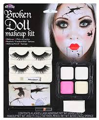 las broken dead doll make up face paint eyelashes fancy dress costume outfit kit