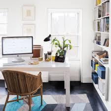 creative ideas home office. impressive printed rug and white desk for creative ideas home office using rattan chair d