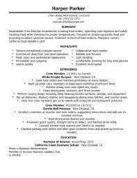 Resume For Fast Food Cashier Fast Food Sample Resume Fascinating Sample Resume For Fast Food