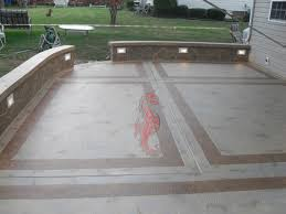 Decorative Resurfaced Concrete Patio with Bench and Lights - Mauldin, South  Carolina