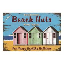 Retro Holidays Seafront Beach Huts For Sale For Happy Holiday Vintage Tin Sign Home Bar Pub Hotel Restaurant Coffee Shop Home Decorative Retro Metal Poster